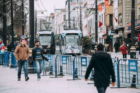 ISTANBUL, TURKEY - 29 JANUARY, 2017: The view of trams in the streets of Sultanahmet district in Istanbul, Turkey. Editorial