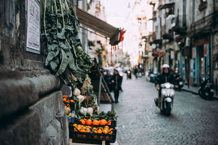 NAPLES, ITALY - 18 DECEMBER, 2017: Vegetables on sale in one of the streets of Naples, Campania, Italy.