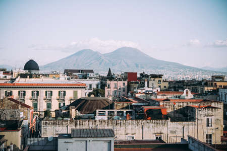 NAPLES, ITALY - 18 DECEMBER, 2017: View of Mount Vesuvius seen from Castel Sant 'Elmo in Naples, Campania, Italy.