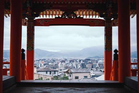 View of Kyoto from Kiyomizu-dera Temple (Higashiyama), Japan. Фото со стока