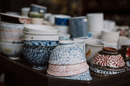 Traditional japanese pottery of sale in Kyoto, Japan.