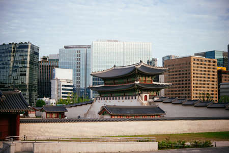 The view of Gyeongbokgung Palace in Seoul, South Korea.
