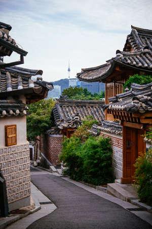 The view of Bukchon Hanok Village - a Korean traditional village in Seoul, South Korea.
