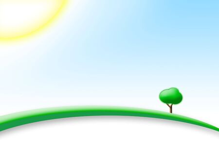 Perfect Sunny Day with blu sky and green hill with a tree Stock Photo