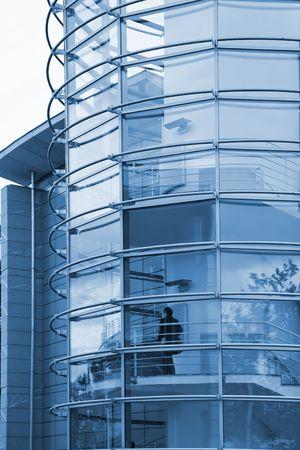 Modern Business Block round stairs tower Stock Photo