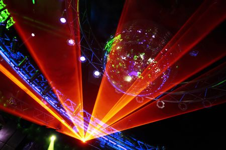 laser show: Fantastic Orange Laser Show at the Disco