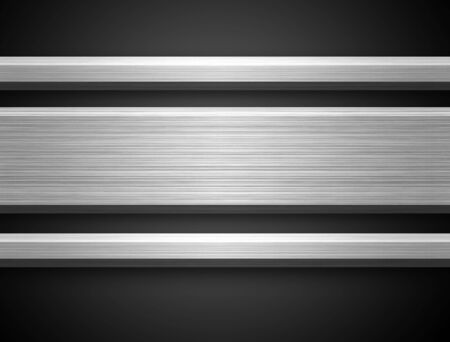 Brushed Aluminium Silver Bar ready for text on dark gray bacground Stock Photo - 1868645
