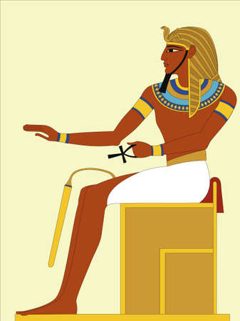 Pharaoh sitting on his throne. Stylized ancient Egyptian fresco