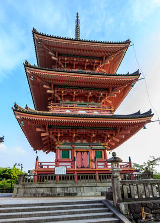 dera: Kyoto, Japan - June 20, 2010  Red pagoda in the famous Kiyo-mizu dera temple  on  June 20, 2010 in Kyoto, Japan