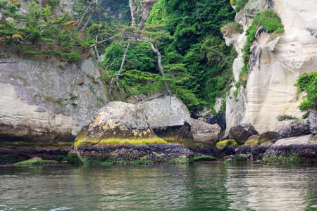 regarded: Spectacular coastline in Matsushima, traditionally regarded as one of the three best sights in Japan, beautifully shaped rocks covered with pines
