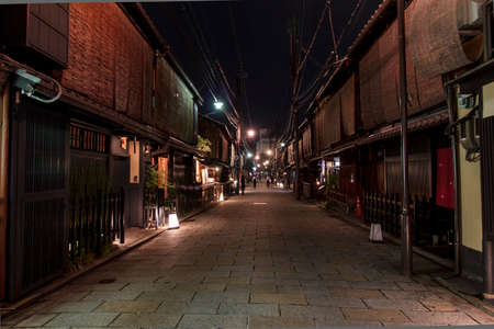 Shinbashi-dori street in Gion district 0 in Kyoto, Japan  Shinbashi dori is one of the most beautiful streets in Kyoto, with restored traditional architecture