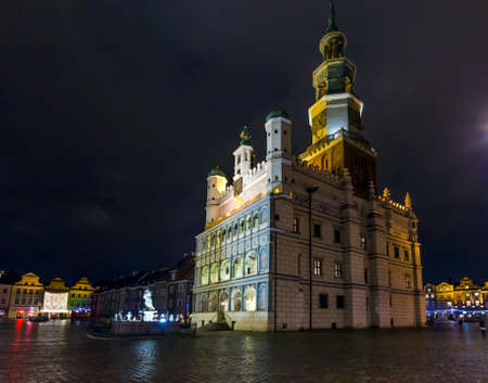 Night photo of beautiful historical city hall in Poznan,Poland photo