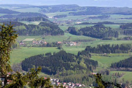 gory: Aerial view presenting beautiful pattern of hills, fields, forests and villages, Poland