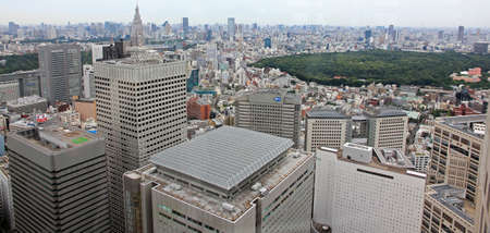 industrial park: Tokyo, Japan - June 26, 2010  Industrial view of Tokyo from Tokyo Metropolitan Government Towers in the direction of Yoyogi park  on 26 June, 2010 in Tokyo, Japan