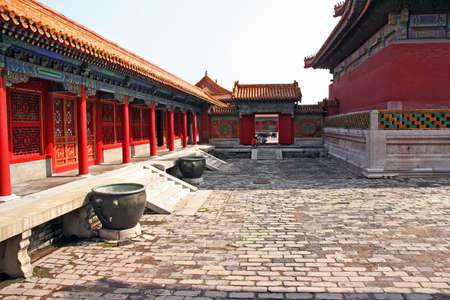 Courtyard of one of the numerous pavillons in the Forbidden City palace inner complex, Beijing, China