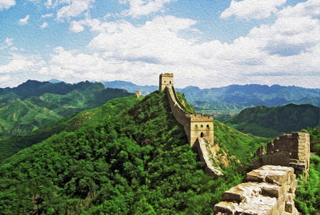 Photo of the Great Wall of China at Jinshanling stylized and filtered to look like an oil painting with blue sky and mountains in background  photo