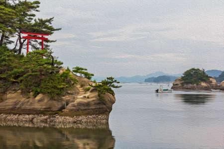いくつかの島、松島、日本の赤い鳥居と海風景様式し、油絵のようにフィルタ リング