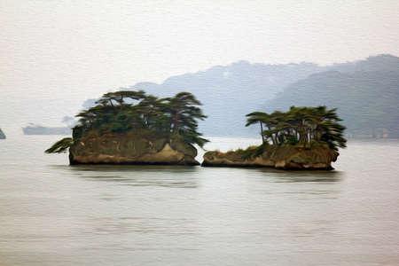 松島の島の美しい霧の風景岩に成長している松の木で覆われて、様式化された、油絵のようにフィルタ リング