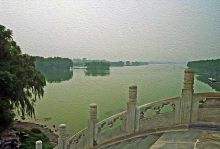 forbidden city: photo of traditional chinese stone  bridge, stylized and filtered to look like an oil painting with lake in background  Location  Summer Palace, Beijing, China