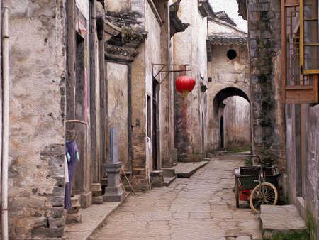 空の通り、古代中国の町の家、様式化された、油絵のようにフィルター処理のいずれかによって駐車人力車、提灯と伝統的な中国建築 写真素材