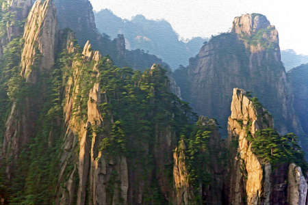 anhui: Photo of spectacular rocks and peaks of  Huang Shan Mountains, China  in the morning sun,  stylized and filtered to look like an oil painting