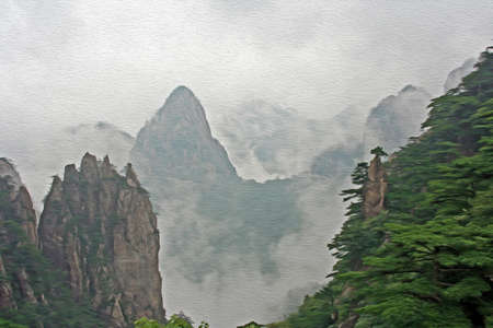 anhui: spectacular rocks and peaks of  Huang Shan Mountains, China in the mist,  stylized and filtered to look like an oil painting