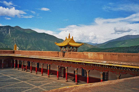 a beautiful Tibetan buddhist monastery in Xiancheng, China, stylized and filtered to look like an oil painting