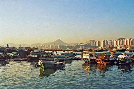hong kong harbour: Photo of boats in the bay against the background of modern Hong-Kong Stock Photo