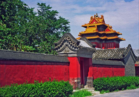 forbidden city: photo of a fragment of the forbidden city in Beijing, China, with red wall and a pavilion, stylized and filtered to look like an oil painting  Stock Photo