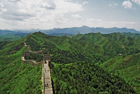 Photo of the Great Wall of China at Jinshanling stylized and filtered to look like an oil painting with mountains in background  photo