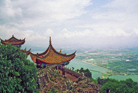 vistas: Photo of traditional chinese architecture with large vistas  Stock Photo