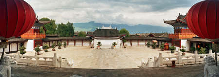 courtyard: panoramic photo of ornamental courtyard of palace in lijiang, china,  stylized and filtered to look like an oil painting