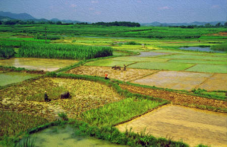 terraced: photo of peasants warking in the rice fields  stylized and filtered to look like an oil painting Stock Photo