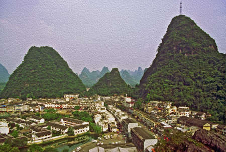 photo of aerial view of Yanhshuo village, China,  stylized and filtered to look like an oil painting photo