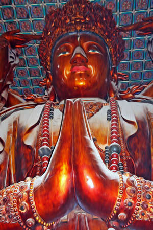 mercy: Photo of the  statue of Guanyin, buddhist goddess of mercy, Location  Puning temple, Chengde, China, filtered and stylized to resemble an oil painting