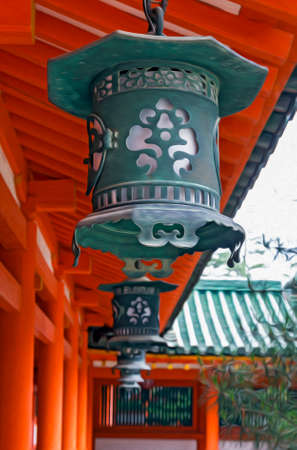 A row of decorative metal lanterns with shinto architecture in background, , filtered and stylized to resemble an oil painting