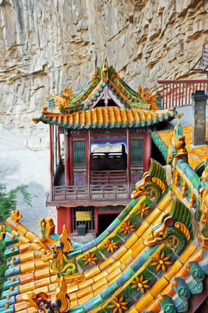 bejing: Ornamental, beautifully painted roofs of the famous hanging monastery near Datong, China, viewed from the side, filtered and stylized to resemble an oil painting Stock Photo