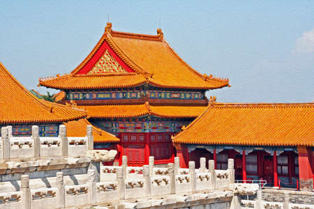 forbidden city: Photo of beautiful yellow roofs of the Forbidden City palace in Beijing;  stylized and filtered to resemble an oil painting Stock Photo