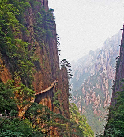 anhui: Photo of pathway made on the vertical slope of a mountain, Huang Shan  Yellow Mountains , China,  stylized and filtered to resemble an oil painting