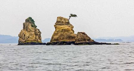 松島、任意フィルターで岩と美しい日本海の風景の写真が油絵のように様式化されました。