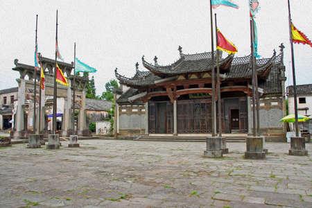 有名なアーチと安徽省の古い中国の建築の写真フィルターし、油絵のように様式化されました。 写真素材