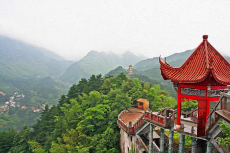 chinese temple: photo of generic chinese landscape with red pavilion, misty mountains and golden pagoda in the distance, stylized and filtered to look like an oil painting  Location - Jiuhua Shan, Anhui province