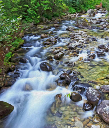 mountain stream: Long exposure photo of a mountain stream with blurred, white water washing stones, filtered and stylized to resemble an oil painting