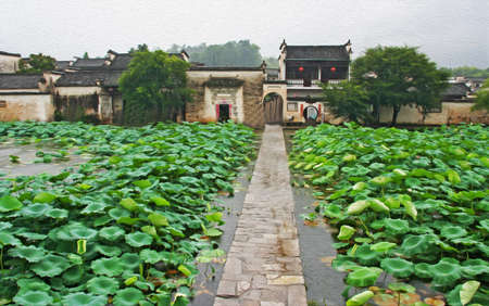 anhui: Photo of famous narrow stone bridge leading to misty ancient Hongcun village in Anhui province, China,  stylized and filtered to look like an oil painting