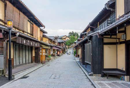 Kyoto, Japan - June 22, 2010  Beautiful old houses in Ninen-zaka street, Southern Higashiyama area on June 22, 2010  Ninen-zaka is one of the most beautiful streets in Kyoto
