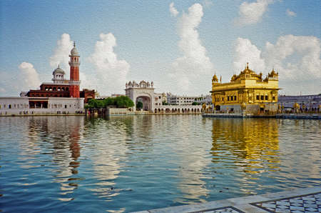 gurdwara: the famous golden temple of the Sikh in Amritsar, India, stylized and filtered to look like an oil painting