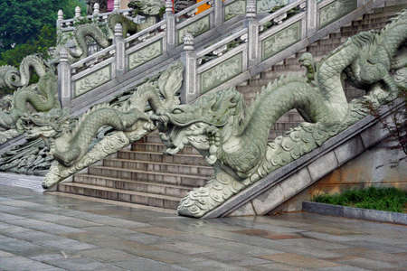 anhui: Stairs to a buddhist temple in Jiuhuashan, Anhui Province, China Stock Photo