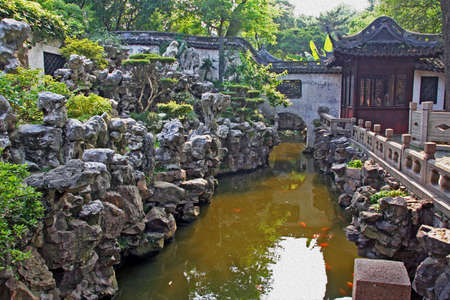 moon gate: Photo of  Yuyuan garden with a pond and a classic chinese stone garden, stylized and filtered to resemble an oil painting