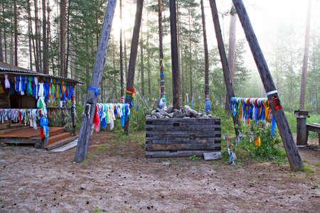 lamaism: Atmospheric Lamaist shrine in the middle of the forest in Siberia, Buryat Republic, Russia