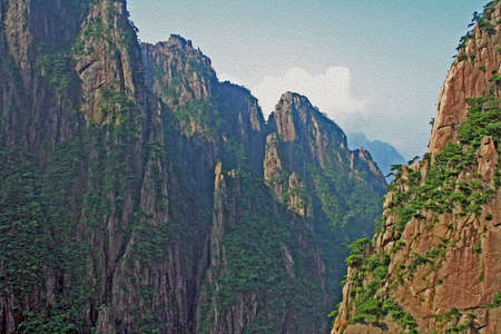 anhui: Spectacular rocks and peaks of  Huang Shan Mountains, China, sunken in the deep shadow, stylized and filtered to look like an oil painting